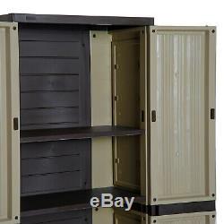 Jardin Stockage Armoires Extérieur Utilitaire Étagères Cabinet Plastique Étanche Shed