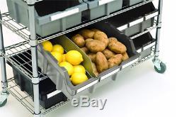 Le Support De Bacs De Stockage De Qualité Commerciale De Nsf 7 Étagères 18 Bacs Résistants Sur Des Roues