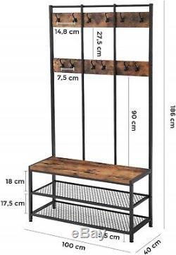 Manteau Industriel Banc Rack Stand Mobilier Hall D'entrée Chaussures Étagères De Rangement Hanger
