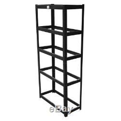 Noir 5 Étagères En Acier Teir Métal Emboîtable Racking Garage 265 KG Heavy Duty Shelf
