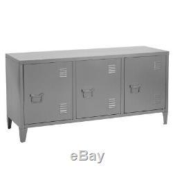 Office File Rangement En Métal 3 Portes Armoire Locker Console Gris Cabinet Tv Stand