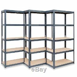 Pack De 3 Grey Rangement Pour Le Garage Étagères Heavy Duty Racking Atelier Shed Stockroom