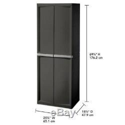 Plastique Garage Armoire De Rangement Avec Portes 4 Shelf Heavy Duty Mobilier Utilitaire