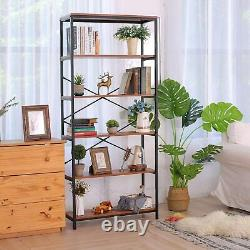 Plate-forme De Stockage En Bois Massif 5 Étages Bibliothèque En Bois Cadre En Métal Librairie Uk