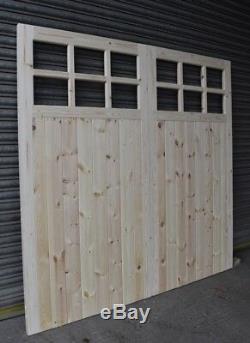 Portes De Garage En Bois, Cadre Robuste, Rebords Et Contreventement, 12 Vitres