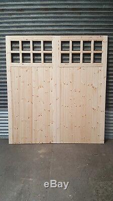 Portes De Garage En Bois Robuste Cadre, Rebord & Renforcé 16 Volet Fait À La Taille