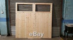 Portes De Garage En Bois Robuste Cadre, Rebord & Renforcé 2 Volet Fait À La Taille