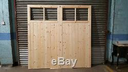 Portes De Garage En Bois Robuste Cadre, Rebord & Renforcé 4 Volet Fait À La Taille