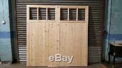 Portes De Garage En Bois Robuste Cadre, Rebord & Renforcé 6 Volet Fait À La Taille