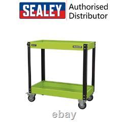 Sealey Workshop Trolley 2 Étagère Heavy Duty Green Tool Trolley Garage Car Storage
