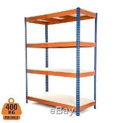Stockage De Garage Résistant De Rayonnage En Acier De 4 Rangées Soutenant Bleu Et Orange 400kg Udl