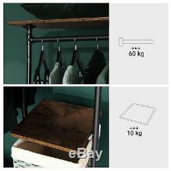 Style De Vêtements Industriel Vêtement Étagères Rail De Stockage De Tuyaux En Métal Mobile Armoire