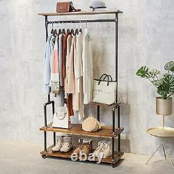 Style Industriel Vêtements En Métal En Bois Rack Rack Rangement 4 Étagères Avec Roues
