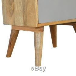 Style Scandinave Deux Tiroirs Peint À La Main Gris Table De Chevet Avec Plateau