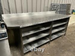 Table De Préparation En Acier Inoxydable Robuste Avec Étagères Rangement Arrière De Banc £400 + Cuve