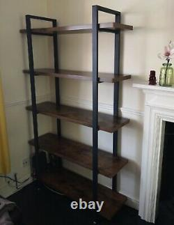 Tall Industrial Bookcase Heavy Duty Shelving Storage Unit Room Divider Rustique
