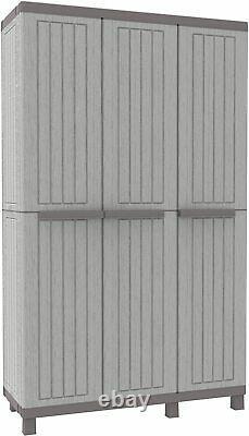 Tall Plastique Ratan Étagères De Plateau Jardin Extérieur Rangement Haute Armoire Shed Box