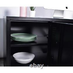 Tv Stand Unit 120cm Cabinet 2 Tier Metal Locker Home Storage With Doors Black