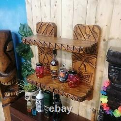 Unique Chainsaw Carved Solid Wood Tiki Étagères Pour Jardin / Bar / Accueil / Mancave Royaume-uni