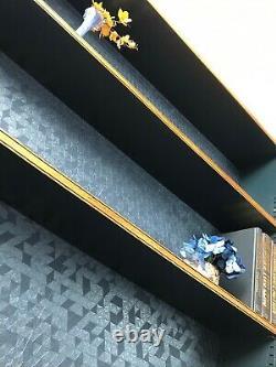 Unité D'étagère De Bibliothèque/affichage En Chêne Massif Et Bleu Foncé