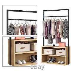 Vêtements Chambre Rial Double Open Wardrobe 2 Étagères Meubles Rangement Shoe Rack