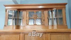 Vintage Chêne Clair Baie Vitrée Chiffonnier Bibliothèque Bibliothèque Solicitors Cabinet