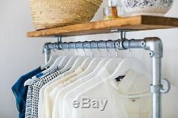 Vintage Industriel Vêtements De Style Rail Avec Plateau / Solution De Stockage