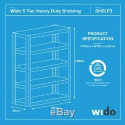 Wido 24 Pack Pack 5 Étages Large Usage En Métal Lourd Rangement Industriel Rangement