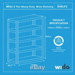 Wido 3 Pack Extra Large 120cm Rayonnage 5 Étages
