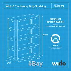 Wido 6 Pack Pack 5 Étages Large Usage En Métaux Lourds Rangement Industriel Rayonnage
