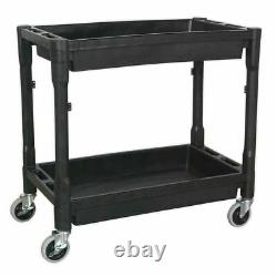 Workshop Garage Tool Storage Trolley Wheel Cart Two Trays Shelf Parts Heavy Duty